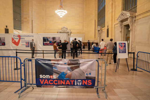 ニューヨーク グランドセントラル駅 ワクチン接種会場 (C) NY GOV