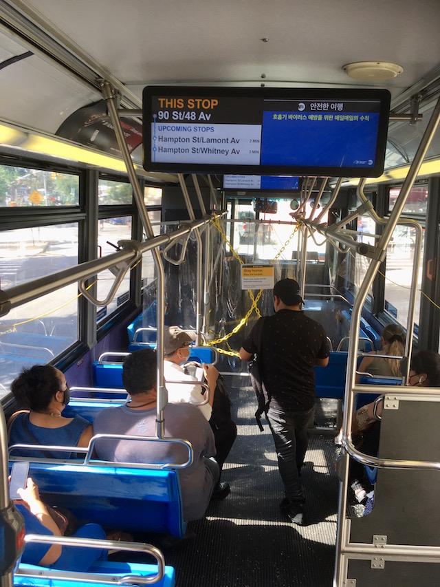 NYC市営バス コロナ禍時運転手を守る為無料だった 2020年8月23日