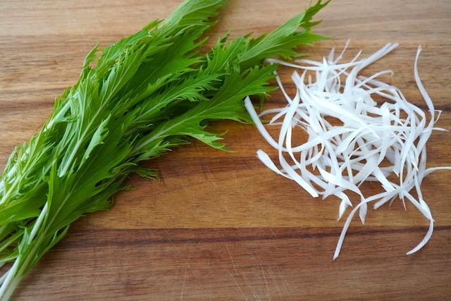 水菜と白髪ネギ